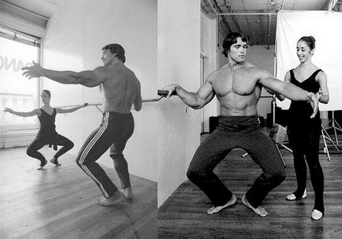 Arnold Schwarzenegger taking ballet lessons