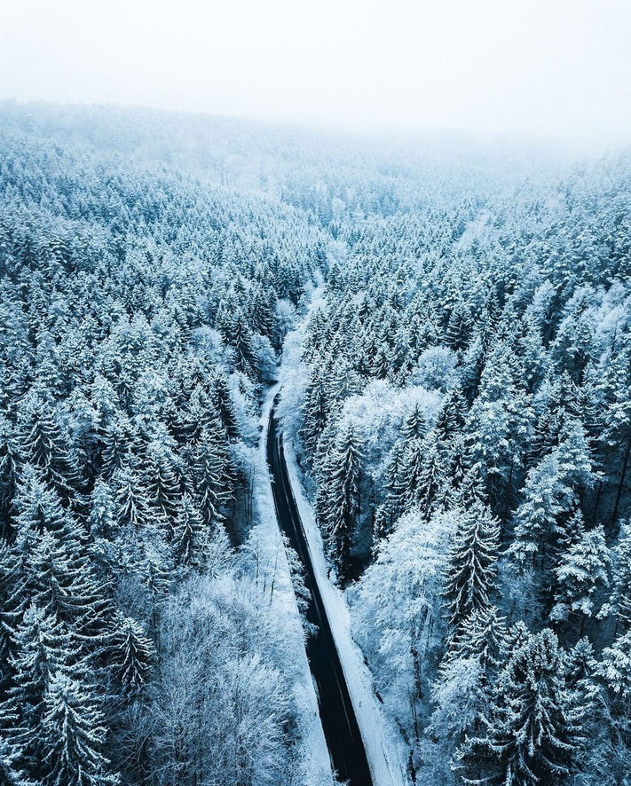 Snow in the Bavarian forest, Germany