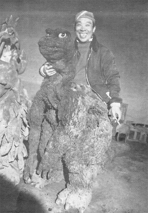 Japanese actor who played the original Godzilla taking a smoke break betweenshots