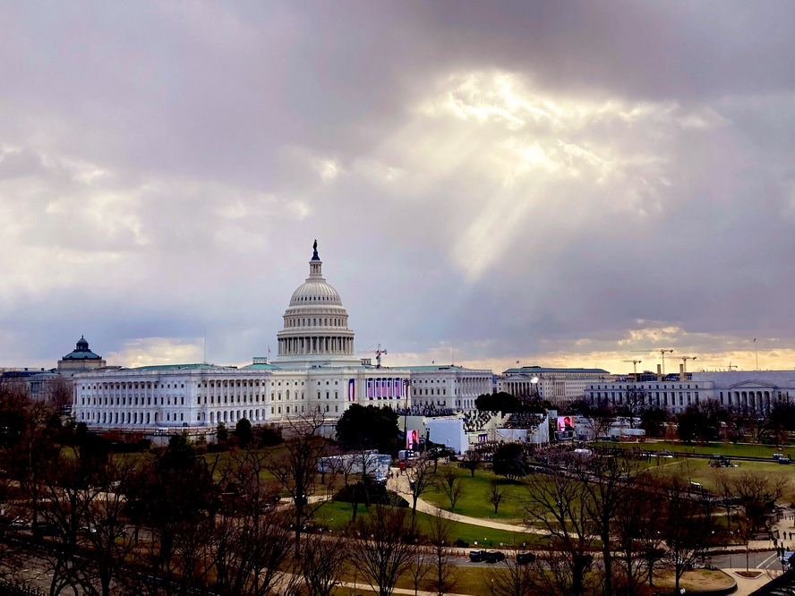 Sunbeam sneaking through the clouds to illuminate the US Capitol prior to inauguration kicking offyesterday