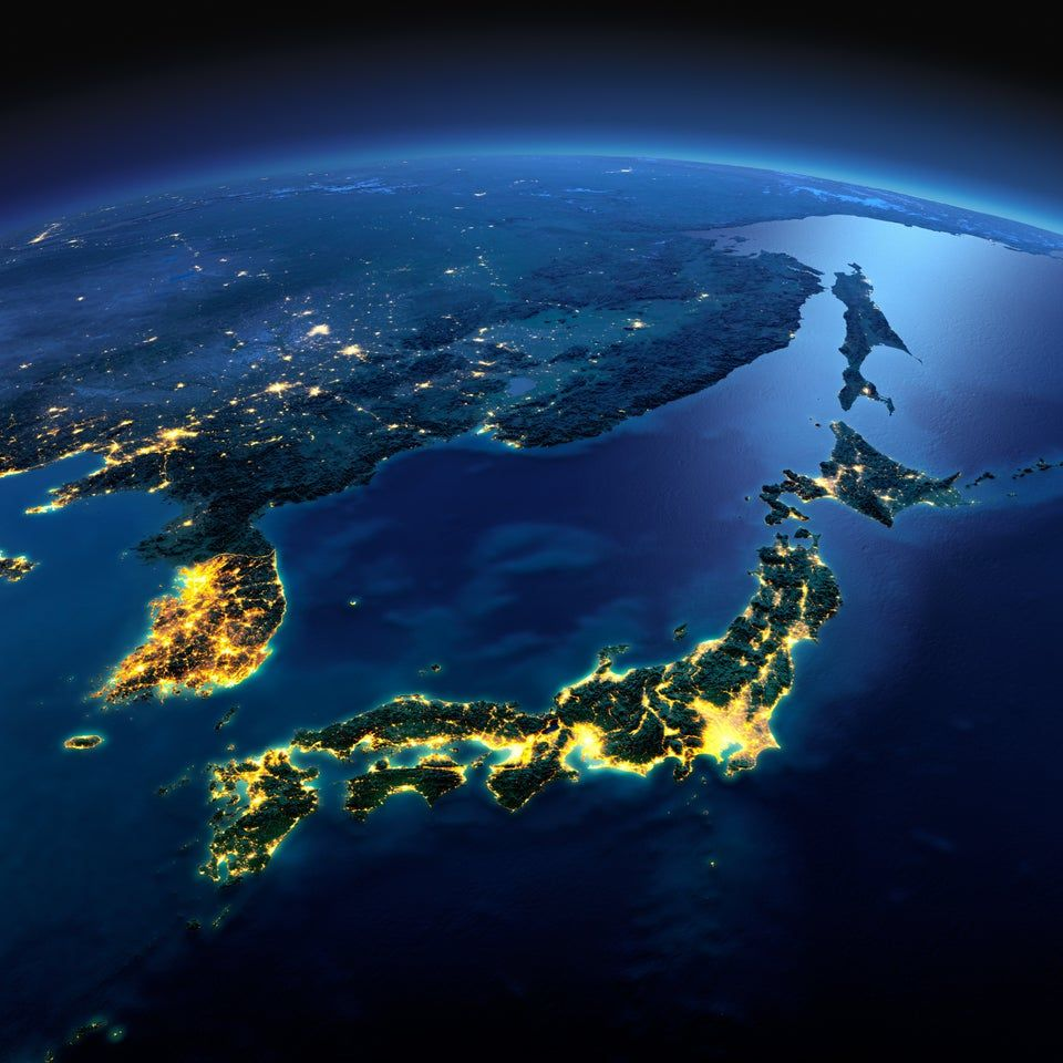 South Korea and Japan lighting up East Asia at night fromspace