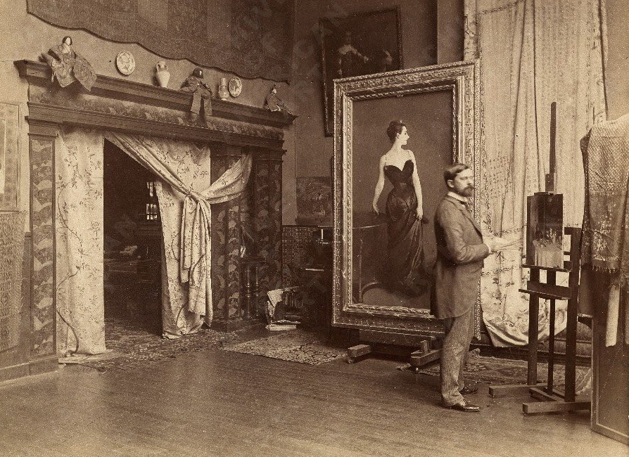 Artist John Singer Sargent in his studio