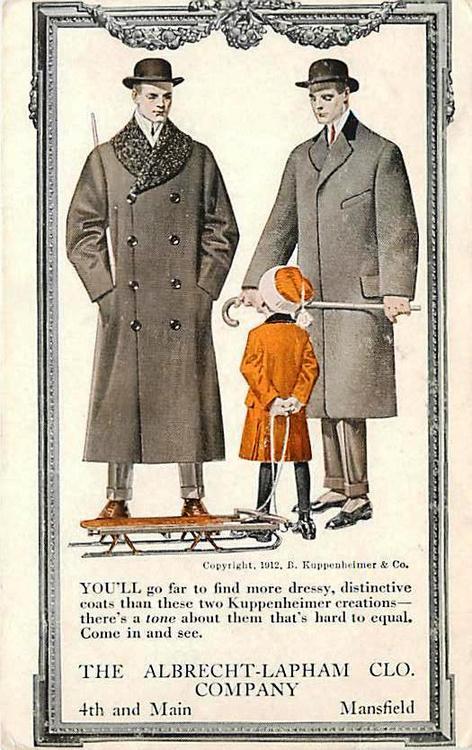 Men's overcoats advertising illustration byLeyendecker
