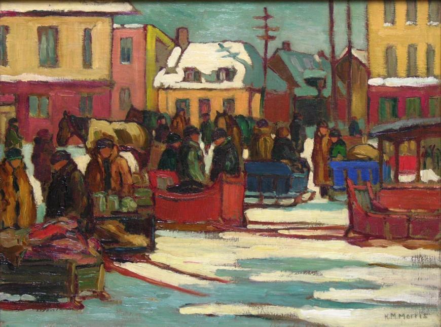 Canadian Art: Marché à Saint-Roch, Québec, by Kathleen Moir Morris,1925