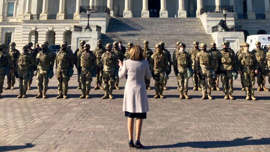 Nancy Pelosi showing gratitude to the National Guard troops now protecting the US Capitol from insurgents