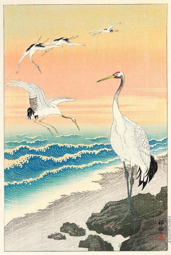 """Cranes on the Seashore"" by OharaKoson"