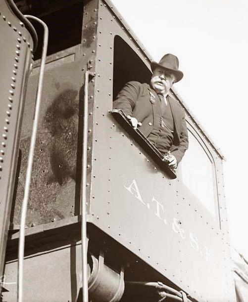 President William Howard Taft riding on the Atchison, Topeka, & the SantaFe