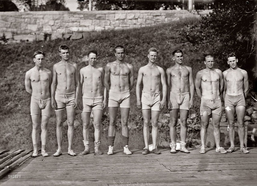 Shirtless vintage rowers