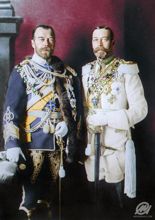 Russian Tsar Nicholas II and his cousin King George V of UK having a lark dressing up in German military uniforms to delight their cousin Kaiser Wilhelm II, Berlin,1913