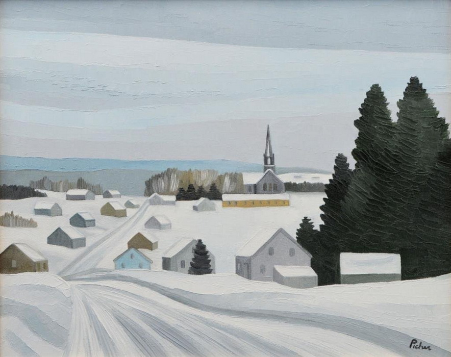 Canadian art: Village de Gaspésie, Québec, par Claude Picher,1981