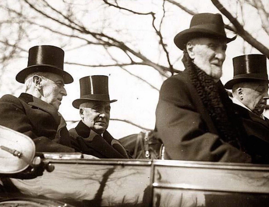 Outgoing President Wilson riding with Incoming President Harding to Harding's inauguration