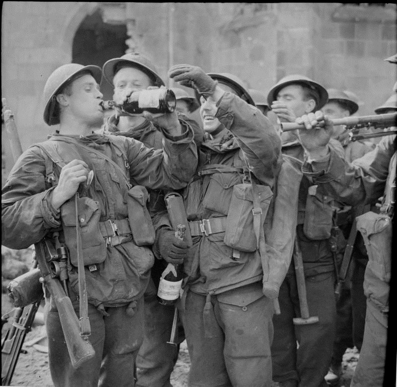 American soldiers celebrating victory in occupied Germany,WWII