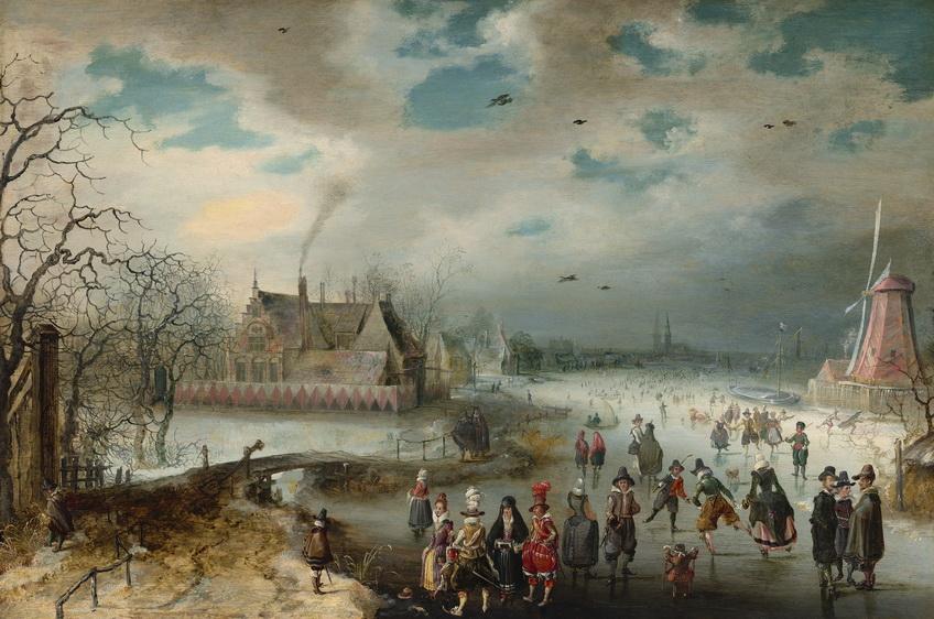 """Adam van Breen, """"Skating on the Frozen Amstel River,""""1611"""