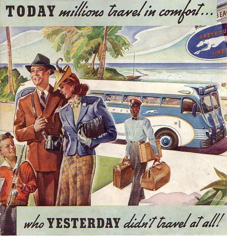 Greyhound Bus Lines ad from 1939, showing a black porter carrying a white family's bags