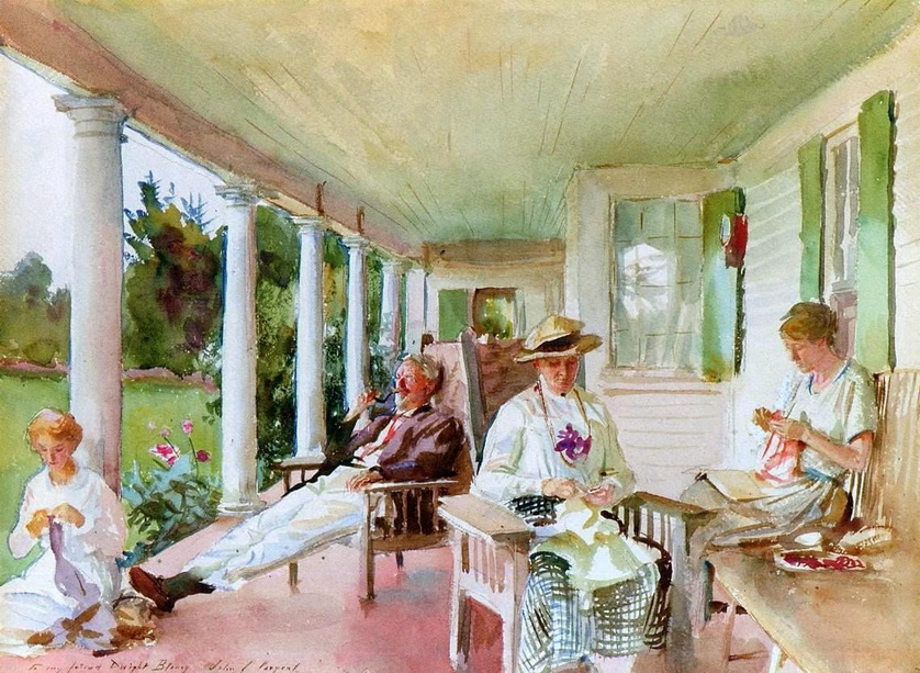 """""""On the Veranda"""", Maine, by Childe Hassam,1922"""