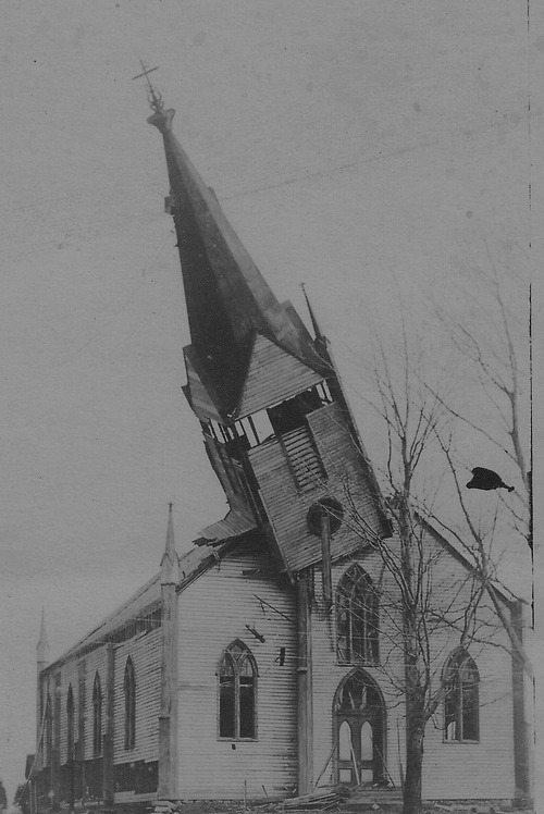 Toppled church steeple