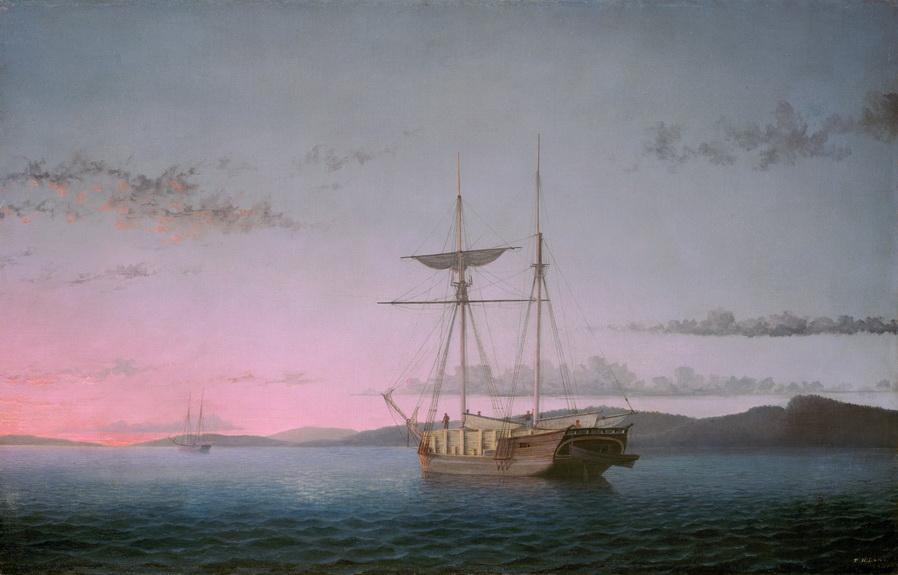 Lumber Schooners on Penobscot Bay, Maine, by Fitz Henry Lane,1800s