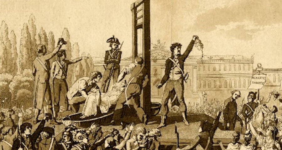 The execution of Queen Marie Antoinette after the French Revolution