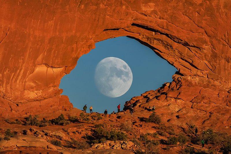 Moonrise at Arches National Park,Utah