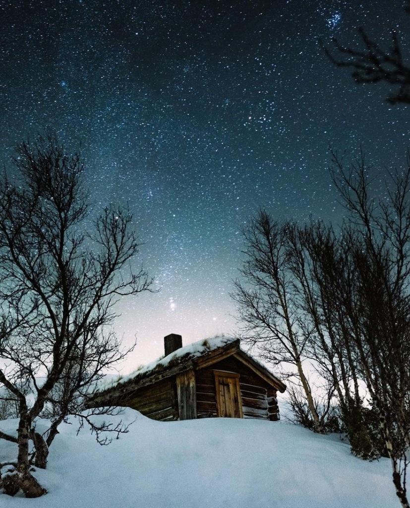 Snowy cabin inNorway