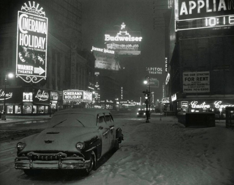 Times Square, NYC, during a snowstorm in the 1950s