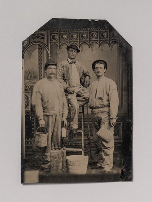 Trio of house painters, 1800s