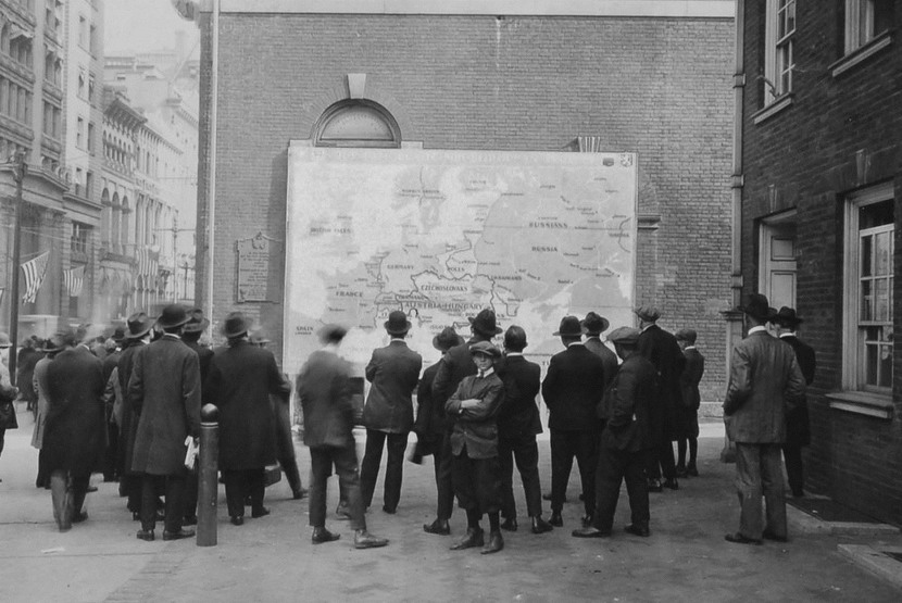 Philadelphians looking at new map of Europe after WWI, 1918-19