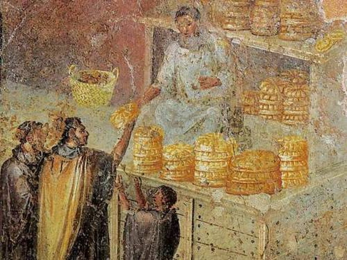 Fresco of a bread seller in Pompeii