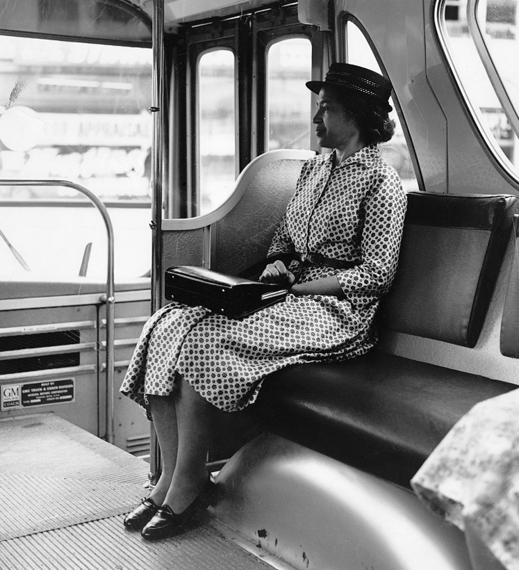 Rosa Parks sitting at the front of the bus