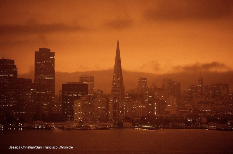 San Francisco with a glowing orange sky from the 2020 forest fires