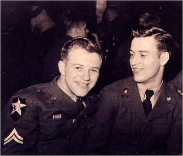 Young American soldiers together, WWII era