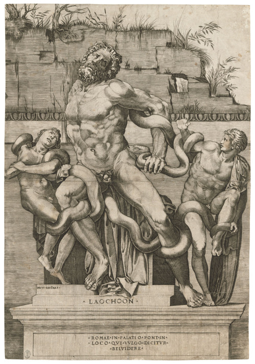 Laocoön and his sons being attacked by serpents, by Marco Dente, Italy, 1500s