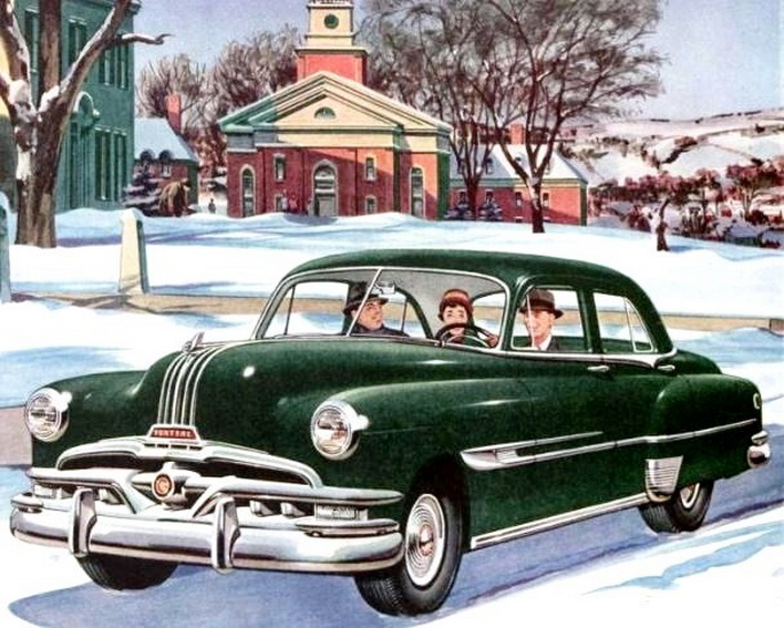 Winter driving in New England, circa 1950