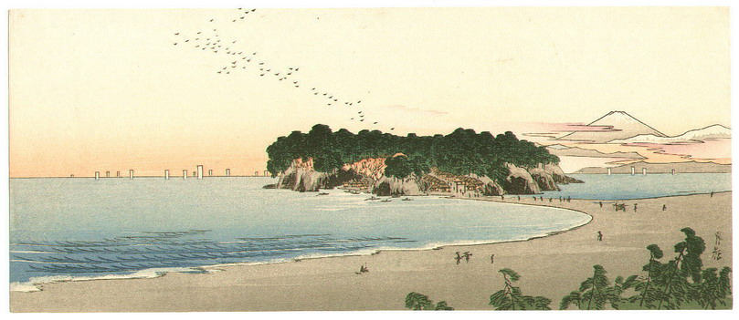 Shore scene in Japan by Yoshimoto Gesso