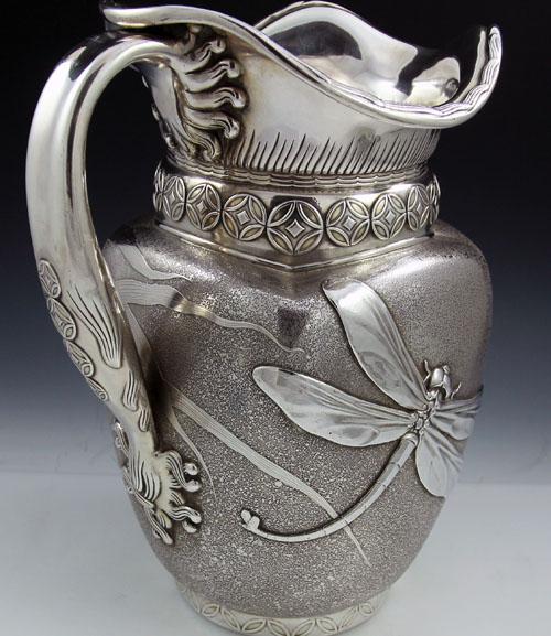 Art Nouveau pitcher with dragonflydesign