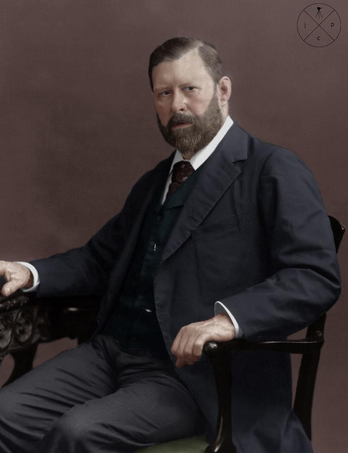 Colourized portrait of Irish author BramStoker