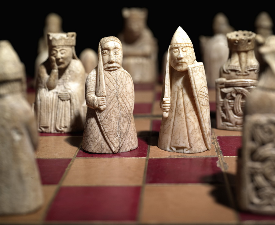 Chess set found on the Isle of Lewis, Scotland, dating from the 12thcentury