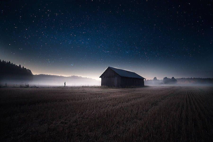 Farm and nightsky