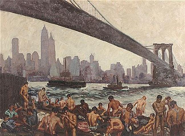 "Edward Casey, ""Stevedores Bathing Under Brooklyn Bridge"", NYC,1939"