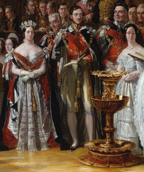 """Sir George Hayter's  painting of Victoria and Albert in """"The Christening of The Prince of Wales"""",1842"""
