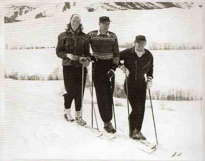 Ingrid Bergman, Gary Cooper, and Clark Gable skiing, circa1940