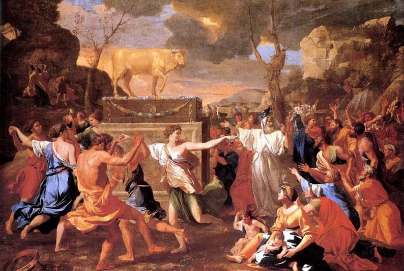"""""""The Adoration of the Golden Calf"""" by Nicolas Poussin,1634"""