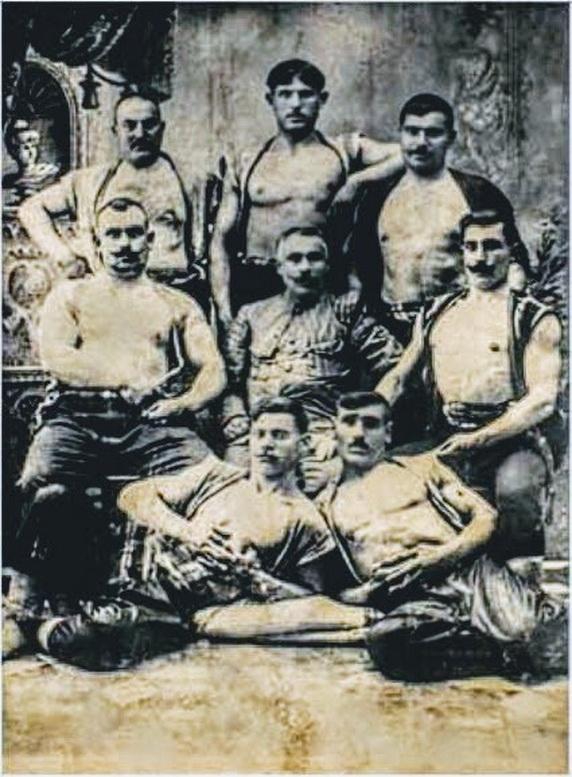 Turkish wrestlers, 1800s
