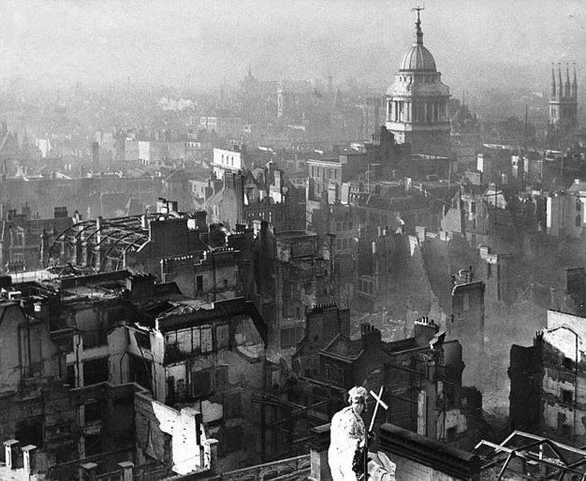 London in ruins after the repeated Nazi bombing of the city duringWWII