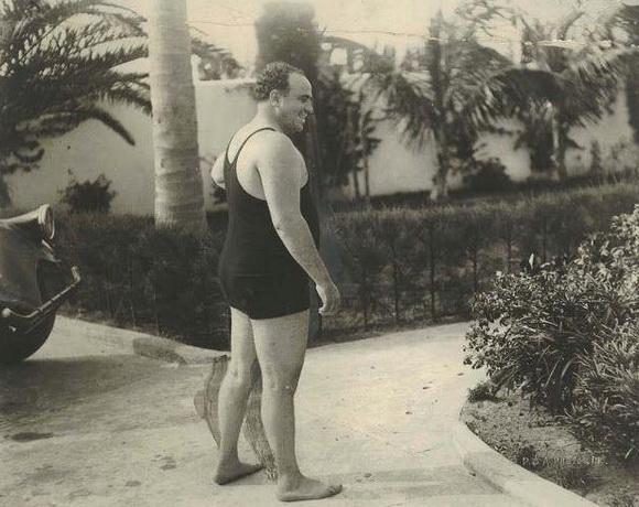 American gangster al Capone in bathing attire, Florida,1929