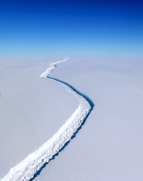 Split in an ice shelf, Antarctica
