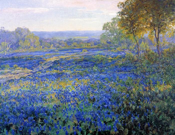 """""""Texas Landscape with Bluebonnets"""" by Julian Onderdonk,1920"""