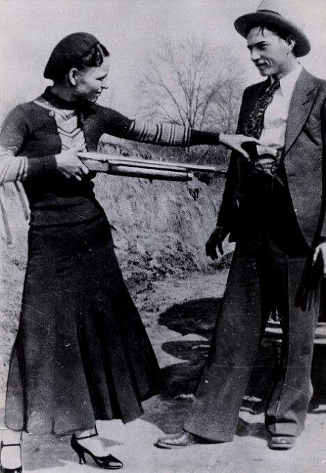 American gangster couple Bonnie and Clyde,1920s
