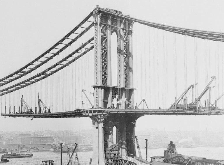 The Brooklyn Bridge under construction, NYC,1869