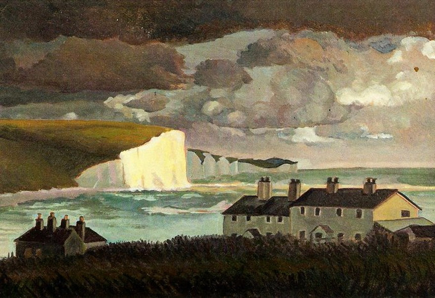 """Coast Guard Cottages, Cuckmere"" by Peggy Angus, UK, 1947"